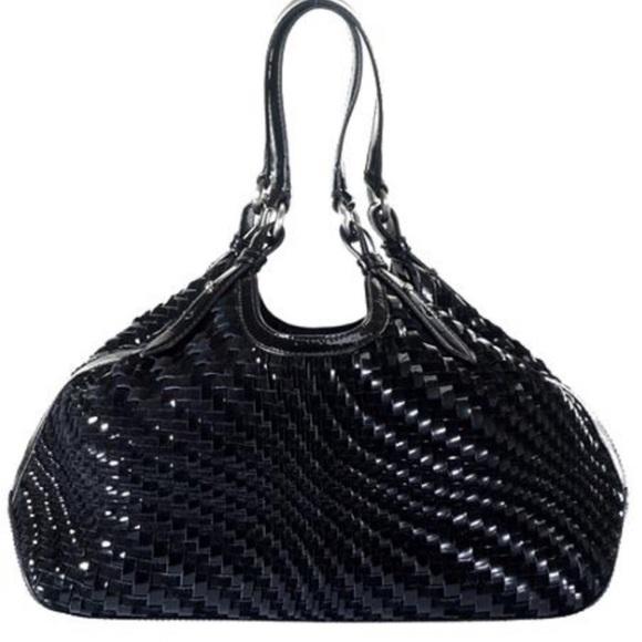 c5784a0e01 Cole Haan Handbags - COLE HAAN Black leather suede weave Genevieve bag
